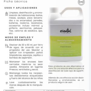 Ficha técnica del Desinfectante Essential